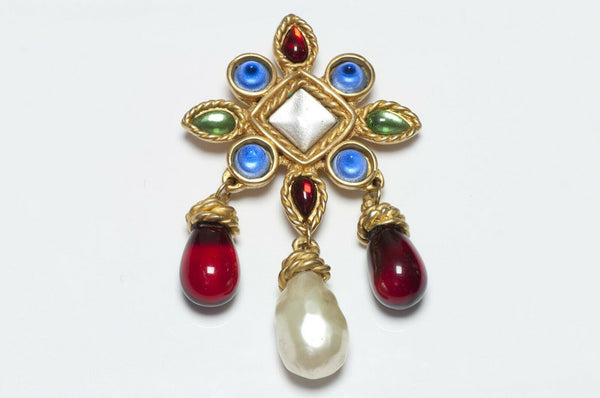 CHANEL Paris 1990's Maison Gripoix Glass Pearl Drop Brooch