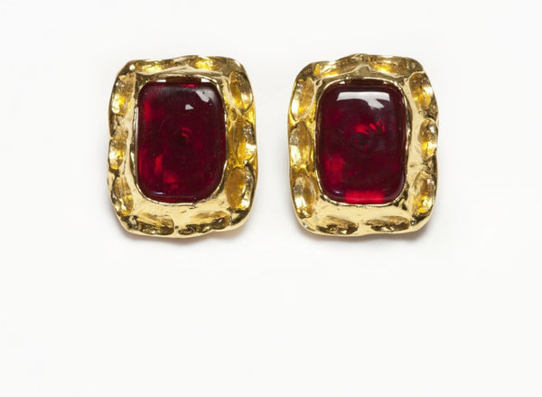 CHANEL Maison Gripoix Red Glass Earrings