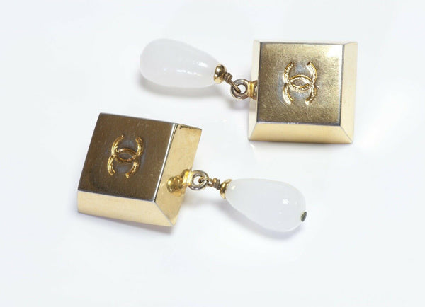 CHANEL Paris CC  Maison Gripoix Glass Drop Geometric Earrings