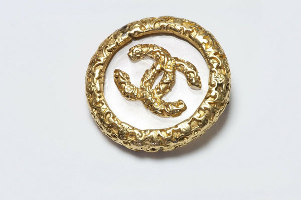 CHANEL Paris Fall 1993 CC Glass Logo Brooch