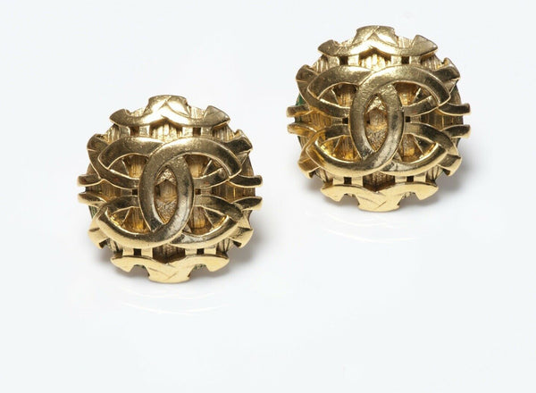 CHANEL Paris Fall 1993 Gold Plated CC Logo Earrings