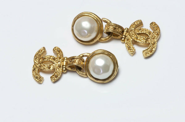 CHANEL Paris Fall 1994 CC Pearl Earrings