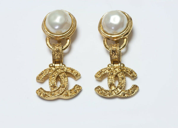CHANEL Paris Fall 1994 CC Pearl Byzantine Style Earrings