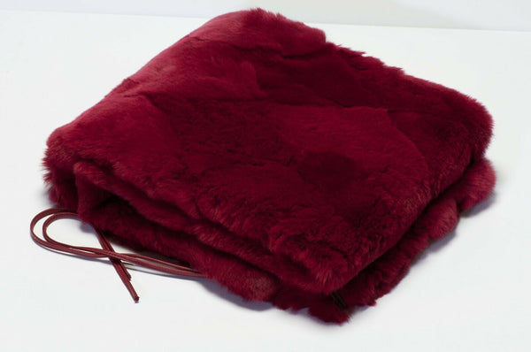 CHANEL Paris Red Orylag Rabbit Fur Scarf