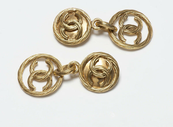 CHANEL Paris Spring 1993 Long Gold Plated CC Earrings