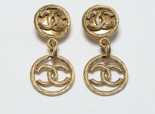 CHANEL Paris Spring 1993 Long Gold Plated CC Logo Earrings