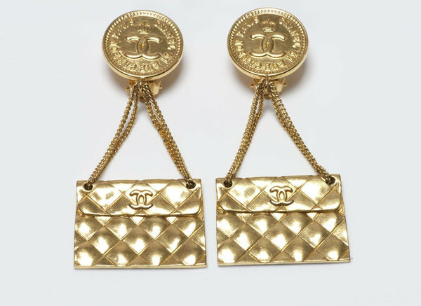 CHANEL Paris Spring 1993 Long Quilted CC Purse Chain Earrings