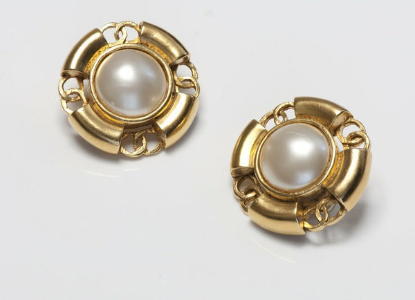 CHANEL Paris Spring 1994 CC Pearl Earrings