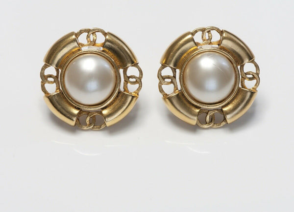 CHANEL Paris Spring 1994 Gold Plated CC Pearl Earrings