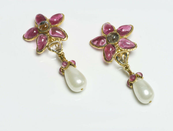 CHANEL Spring 1995 Maison GRIPOIX Camellia Flower Pink Glass Pearl Drop Earrings