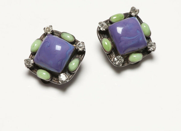 CHANEL Spring 1996 Gripoix Purple Green Glass Earrings
