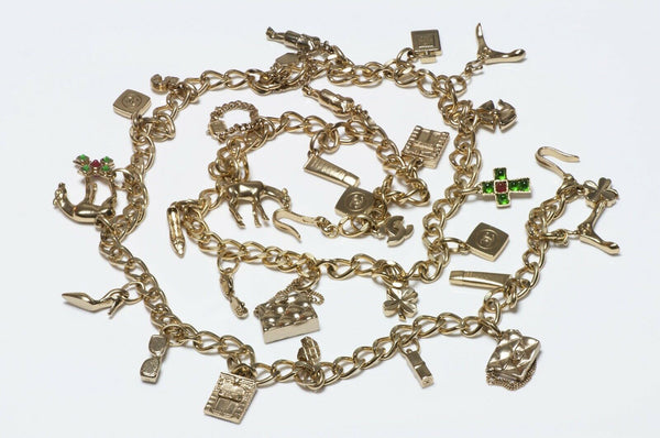 CHANEL Spring 2002 Gripoix Glass CC Charm Chain Necklace Belt