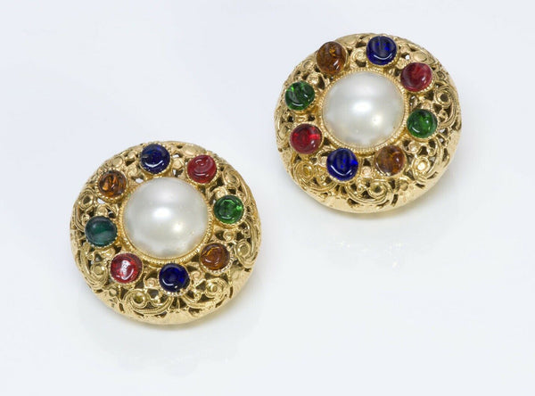 CHANEL Maison Gripoix Glass Pearl Filigree Earrings