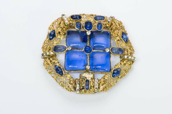 Chanel 1970's Gripoix Blue Glass Byzantine Style Pendant Brooch2