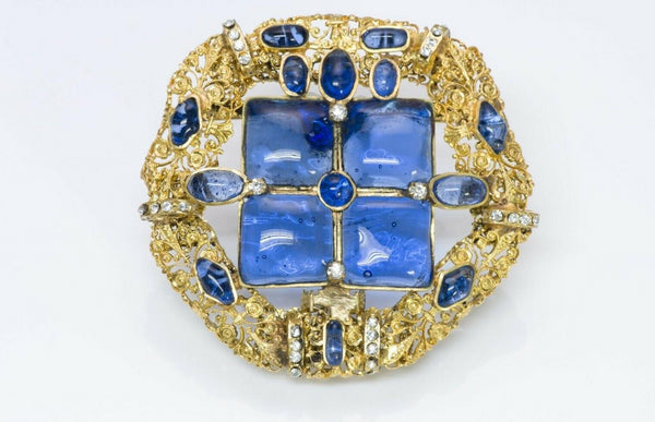 Chanel 1970's Gripoix Blue Glass Byzantine Style Pendant Brooch