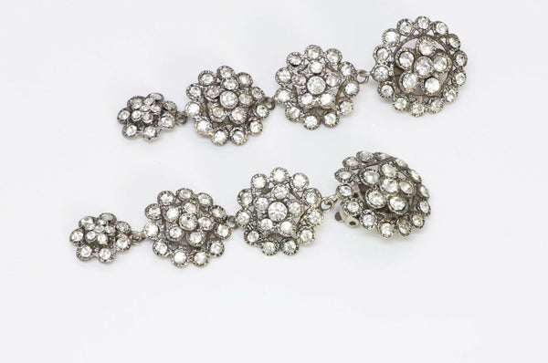Chanel 1970's Long Silver Tone Crystal Earrings 2