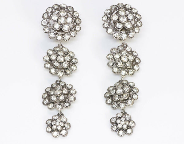 Chanel 1970's Long Silver Tone Crystal Earrings