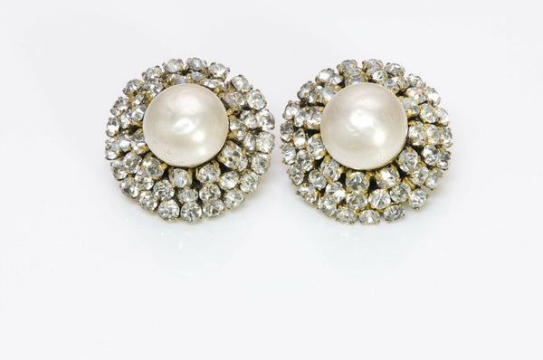 Chanel 1970 Pearl Crystal Cluster Earrings