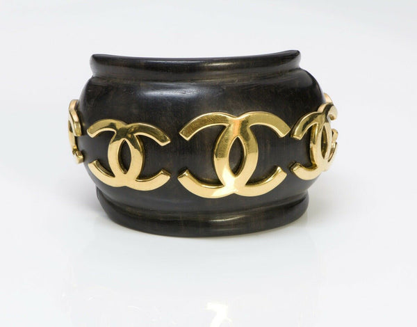 CHANEL CC Wood Wide Cuff Bracelet