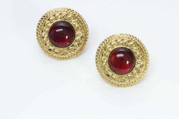 Chanel 1980's Red Gripoix Glass Earrings