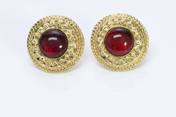 Chanel 1980's Gold Tone Red Gripoix Glass Earrings