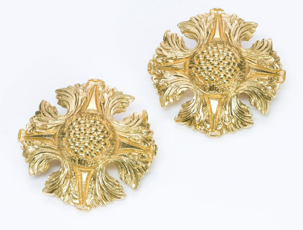 CHANEL 1980's Camellia Maltese Cross Theme Earrings