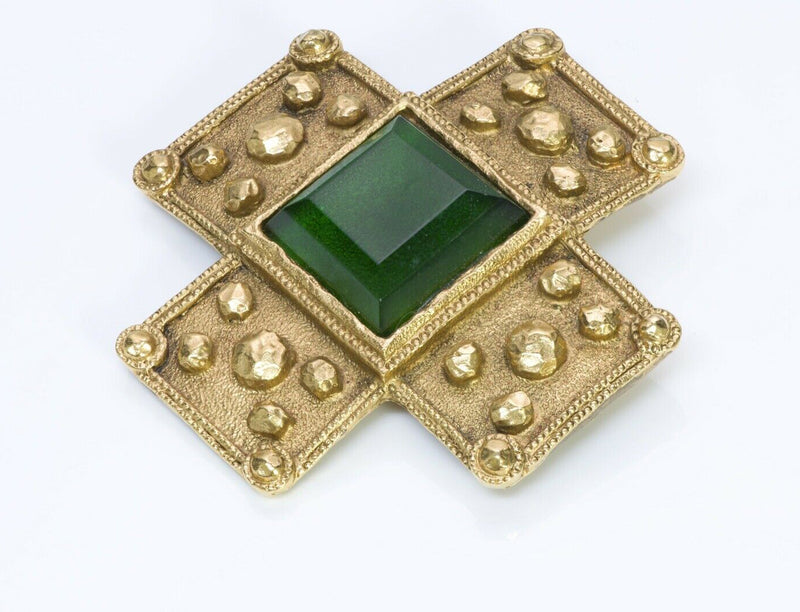 CHANEL Gripoix Byzantine Style Glass Cross Brooch