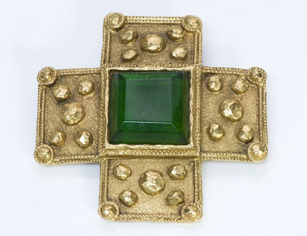 CHANEL 1980's Gripoix Byzantine Style Glass Cross Brooch
