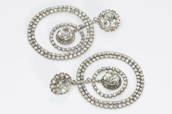 Chanel Long Silver Tone Crystal Hoop Earrings