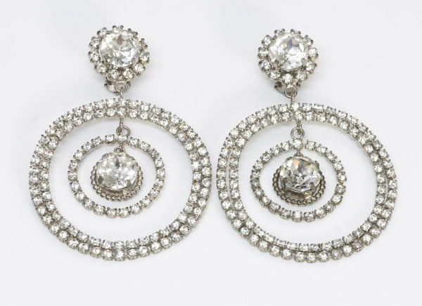 Chanel 1980's Long Silver Tone Crystal Hoop Earrings