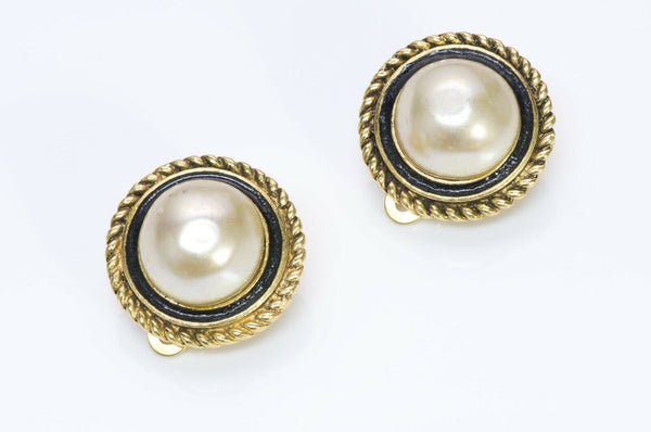 CHANEL Black Enamel Pearl Earrings