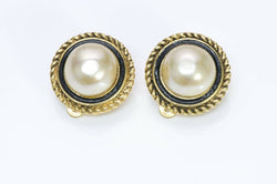 CHANEL 1982 Black Enamel Pearl Earrings