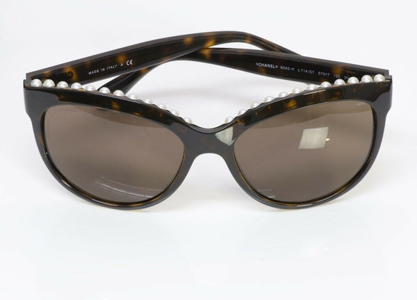CHANEL 6040 Freshwater Pearls Brown Cat-Eye Sunglasses