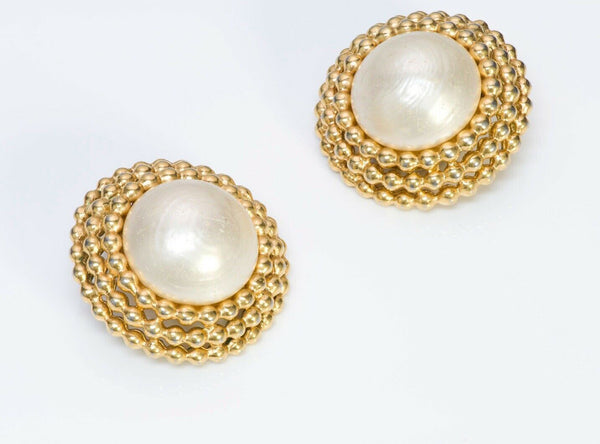 CHANEL CC Round Pearl Earrings