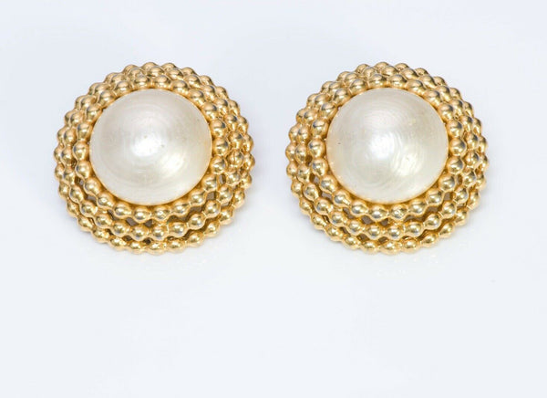 CHANEL CC 1960's Textured Round Pearl Earrings