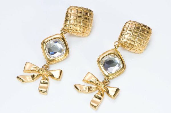 CHANEL CC Long Quilted Crystal Bow Earrings