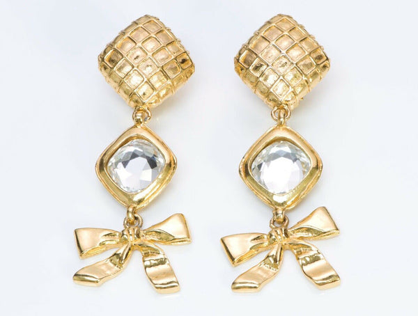 CHANEL CC 1970's Long Quilted Crystal Bow Earrings