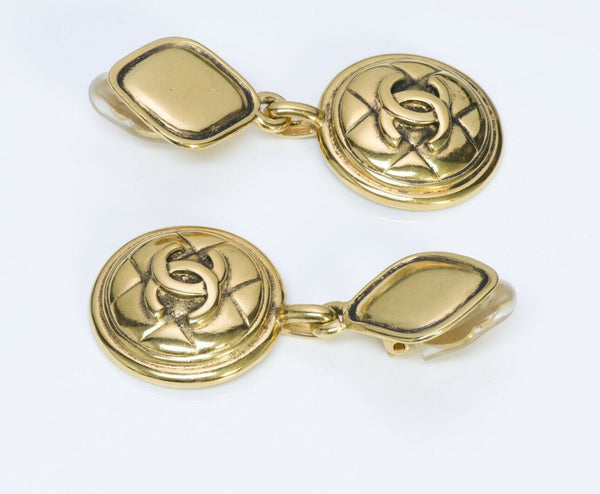CHANEL CC 1980's Gold Plated Quilted Drop Earrings