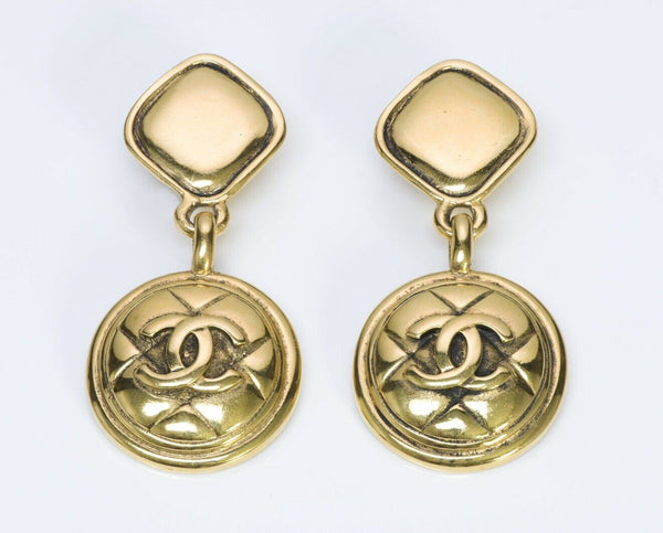 CHANEL CC 1980's Quilted Drop Earrings