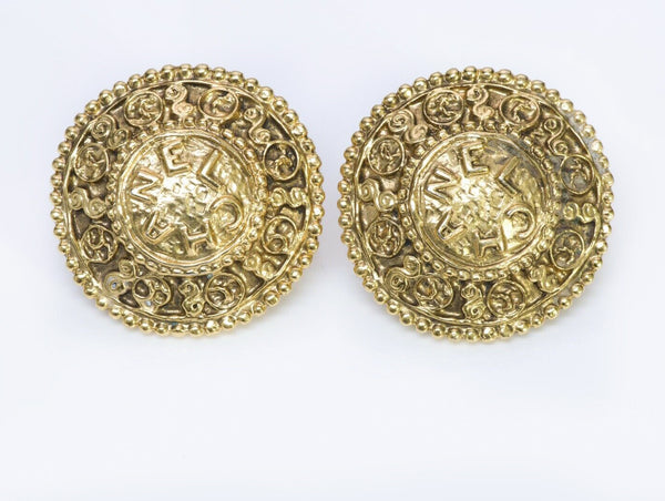 CHANEL CC 1980's Gold Plated Round Coin Earrings