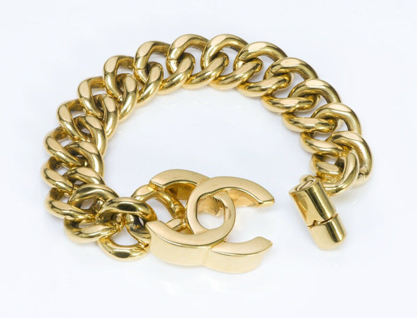 CHANEL CC Gold Plated Turnlock Chain Bracelet