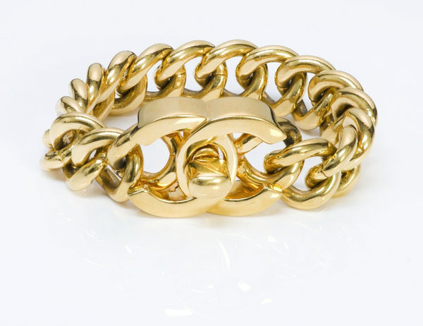 CHANEL CC 1995 Gold Plated Turnlock Chain Bracelet