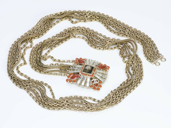 CHANEL CC Maison Gripoix Orange Glass Crystal Chain Belt