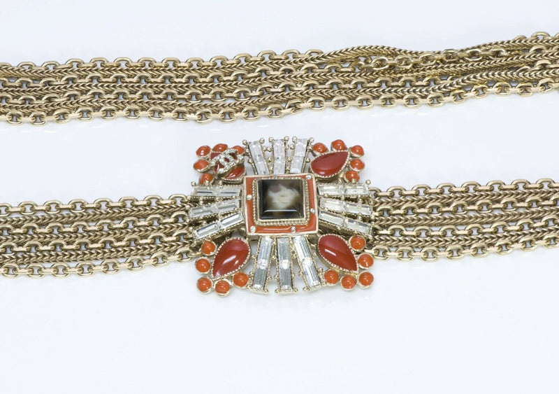 CHANEL CC 2006 Maison Gripoix Orange Glass Multi Chain Belt