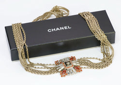 CHANEL CC 2006 Maison Gripoix Orange Glass Crystal Chain Belt
