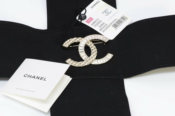 CHANEL CC 2018 Crystal Quilted Brooch