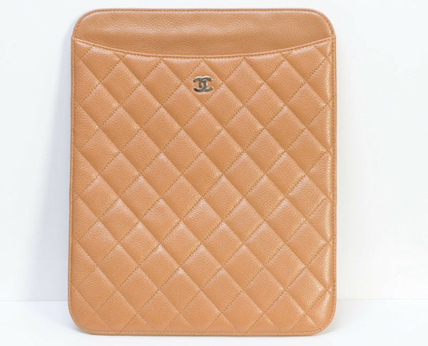 CHANEL CC Brown Quilted Leather iPad Cover Case