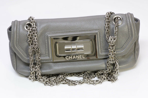 CHANEL CC Gray Leather Mademoiselle Lock Flap Bag