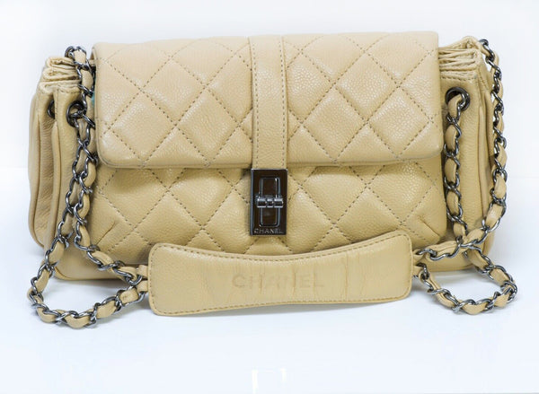 CHANEL CC Beige Quilted Leather Mademoiselle Lock Small Shoulder Bag 1