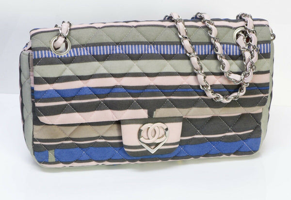 CHANEL CC Resort Pink Blue Striped Quilted Fabric Heart Flap Bag